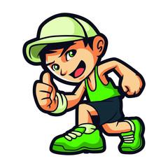 Running Boy Mascot Design Vector