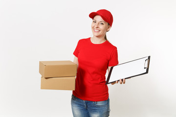 Delivery woman in red uniform isolated on white background. Female courier in cap, t-shirt holding pen, clipboard with papers document, blank empty sheet, cardboard box. Receiving package. Copy space.