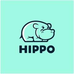 Little Hippo Mascot Design Vector
