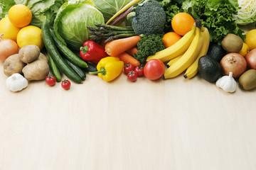 野菜と果物の集合 Image of different fruits and vegetables on wooden background