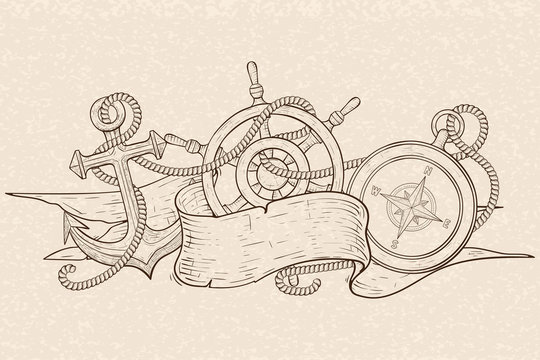 Anchor, steering wheel and compass, tangled with rope and ribbon banner. Hand drawn sketch on beige background