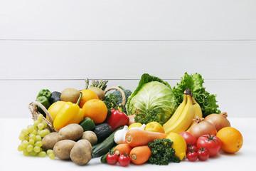 野菜と果物の集合 Image of different fruits and vegetables on white background