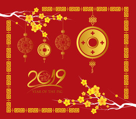 Happy Chinese new year 2019 card, Gold coin, year of the pig