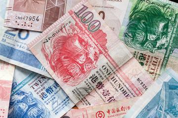 Hong Kong dollars, colorful banknotes Fotomurales