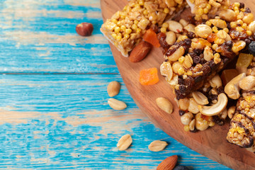 Granola bar on wooden background