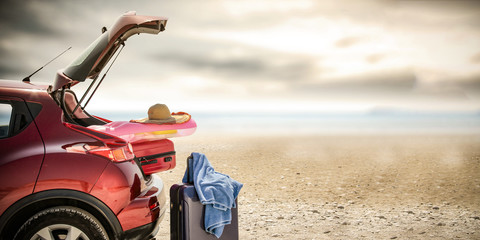 summer car on beach and free space for your decoration.
