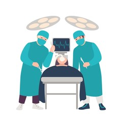 Two surgeons or physicians holding scalpels performing surgical operation on lying patient isolated on white background. Surgery, medical procedure. Colored cartoon vector illustration in flat style.