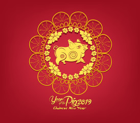 Oriental Happy Chinese New Year 2019. Year of the pig Design