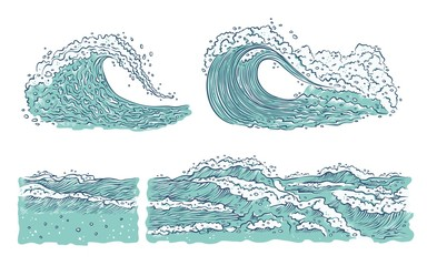 Vector set waves sea ocean. Big and small azure bursts splash with foam and bubbles. Outline sketch illustration isolated on white background.
