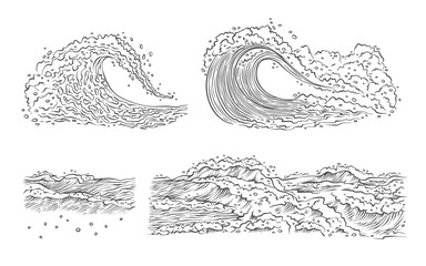 Vector sketch waves sea ocean. Big and small splash with foam and bubbles. Outline isolated set black white illustration.