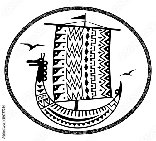 An ancient Scandinavian image of a Viking ship decorated with an ...