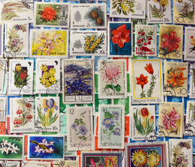 postage stamps of flowers