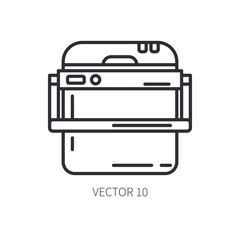 Retro furniture, compact picnic refrigerator line icon. Summer travel vacation, tourism, camping equipment. Backyard classic lunch. Outdoor family picnic, rustic party. Beach cooler. Hiking lifestyle.