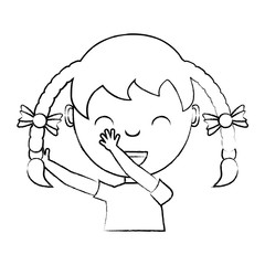 sketch of Cartoon happy girl with braids over white background, vector illustration