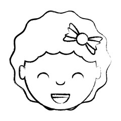 cartoon happy girl with decorative hair accessory over white background, vector illustration