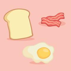 Breakfast Food Set Vector Illustration Cartoon. Bacon, Sunny Side Up Fried Egg, Loaf Bread.
