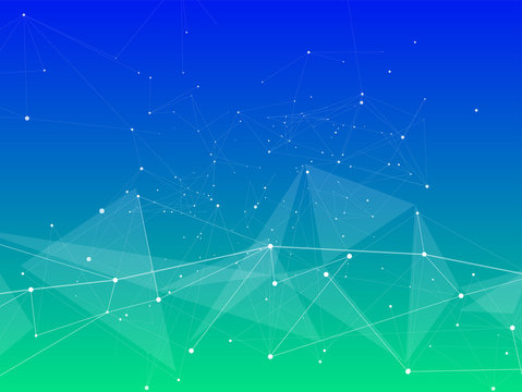 Technology blue green background: abstract low poly digital wave - points, lines & triangles. Vector illustration / Eps10