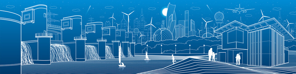 Futuristic City life infrastructure. Industrial energy illustration panorama. Hydro power plant. River Dam. People walking. Modern houses. Airplane fly. White lines, blue background. Vector design art