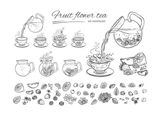 Vector tea constructor herbs and fruits brew procedure. Sequence make hot or cold aromatic drink with blossoming tea, berries and leaves. Sketch set collection black white hand drawn illustration