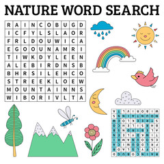 Nature word search game for kids in vector