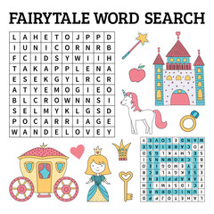 Fairytale word search game for kids in vector