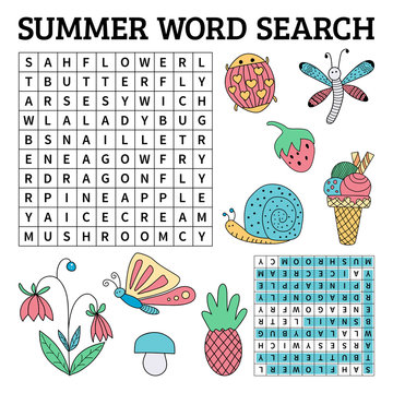 Summer word search game for kids in vector