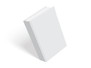 white book with thick cover isolated on white background mock up