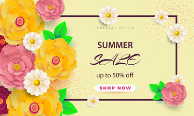 Summer sale banner with paper flowers on a light background. The banner is ideal for promotions, magazines, advertising, websites.