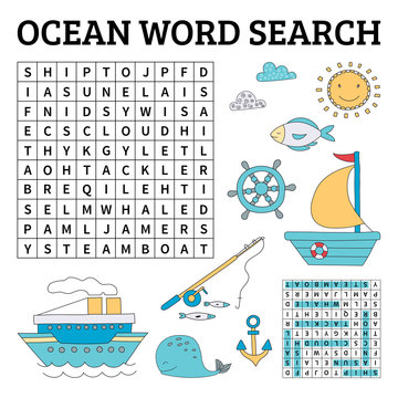 Ocean word search game for kids