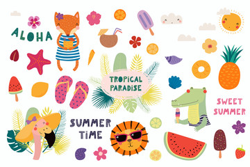 Garden Poster Illustrations Big set of cute funny animals and summer design elements and quotes. Isolated objects on white background. Vector illustration. Scandinavian style flat design. Concept for children print.
