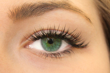 Beautiful Woman with long lashes in a beauty salon. Eyelash extension.