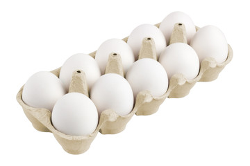 packing, box of white eggs isolated on white background, 10 pieces