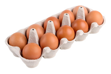 packing, box of brown, beige eggs isolated on white background, 10 pieces