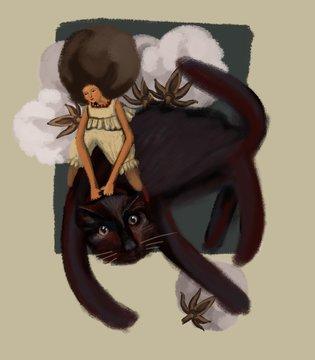 Woman riding black cat
