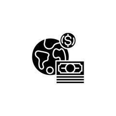 Global currency black icon concept. Global currency flat  vector symbol, sign, illustration.