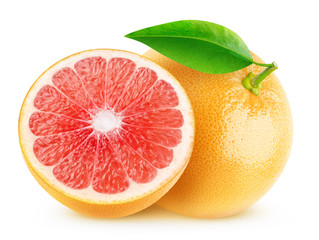 Isolated grapefruits. Cut pink grapefruits isolated on white background with clipping path