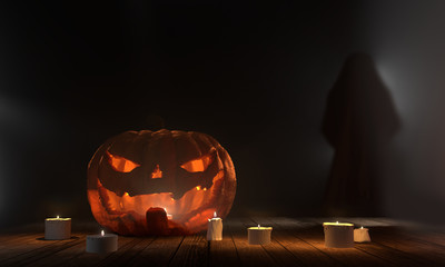 halloween pumpkin with ghost at wood planks with candle lights 3d rendering