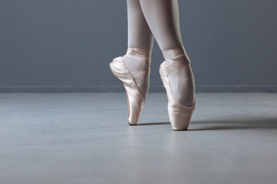 Low angle of a young ballet dancer training