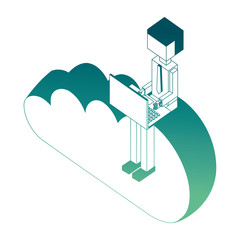 young man using laptop on cloud storage isometric vector illustration