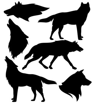 wolf silhouette set - black vector design of running, howling and standing animals