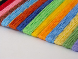 Set of multi-colored woolen threads for embroidery