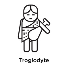 Troglodyte icon vector sign and symbol isolated on white background