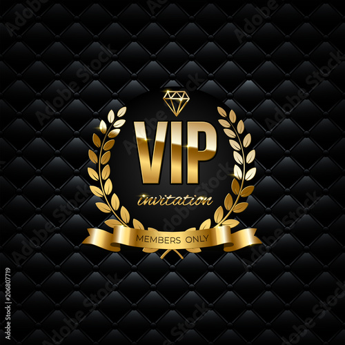 Vector golden ribbon laurel wreath and vip invitation text on black vector golden ribbon laurel wreath and vip invitation text on black luxury background vip stopboris