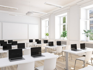 modernes klassenzimmer mit laptops. digitalisierungs konzept