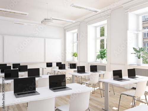 modernes klassenzimmer mit laptops. digitalisierungs konzept ...