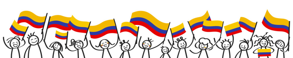 Cheering crowd of happy stick figures with Colombian national flags, smiling Colombia supporters, sports fans isolated on white background