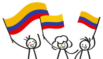 Cheering group of three happy stick figures with Colombian national flags, smiling Colombia supporters, sports fans isolated on white background