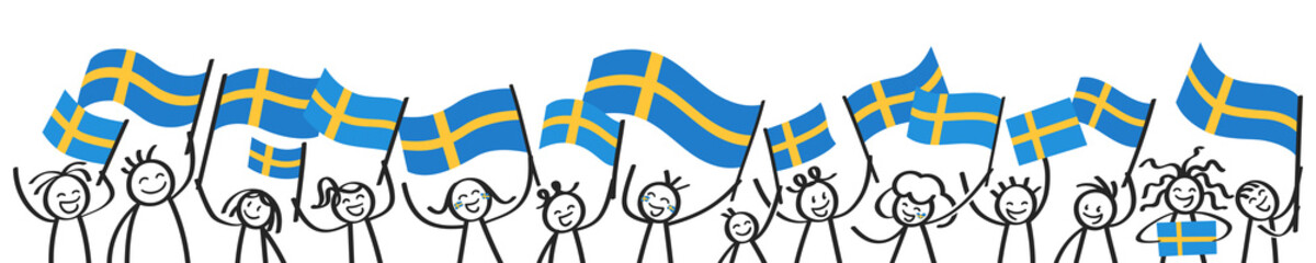 Cheering crowd of happy stick figures with Swedish national flags, smiling Sweden supporters, sports fans isolated on white background