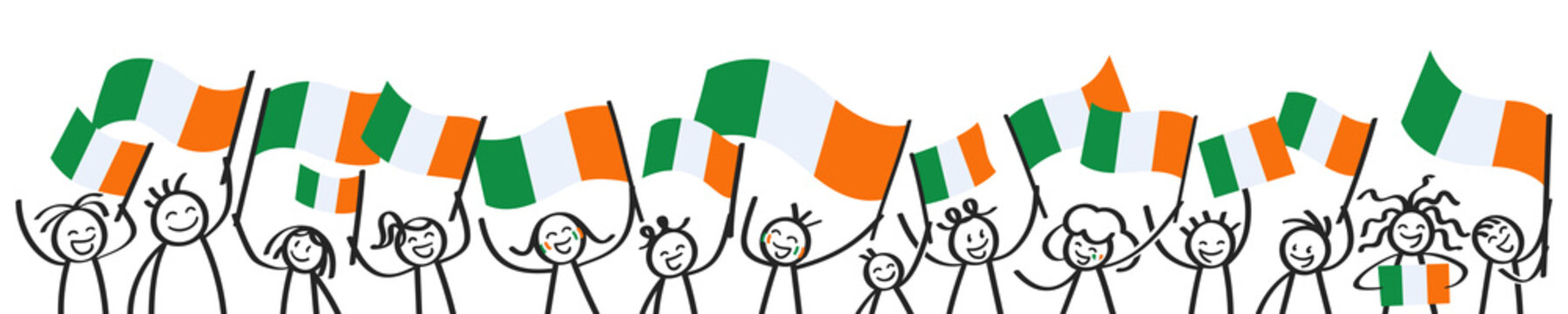 Cheering crowd of happy stick figures with Irish national flags, smiling Ireland supporters, sports fans isolated on white background