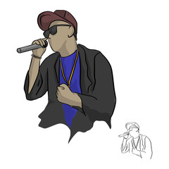 rapper holding microphone vector illustration sketch doodle hand drawn with black lines isolated on white background